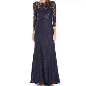 NWT Stunning Adrianna Papell Navy Lace Gown Sz 12